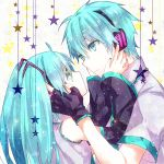 1boy 1girl aqua_eyes aqua_hair detached_sleeves eye_contact fingerless_gloves gloves hands_on_another's_face hatsune_miku hatsune_mikuo headphones highres long_hair looking_at_another mochi_(kokologic) nail_polish star vocaloid