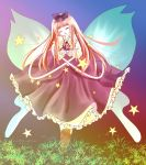 1girl bow capelet closed_eyes dress facing_viewer fairy_wings fingernails gradient gradient_background grass hair_bow head_tilt highres long_hair nyago open_hands open_mouth outdoors pink_hair solo star star_sapphire touhou wings