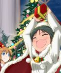 2girls arms_up bell black_hair blue_eyes charlotte_e_yeager christmas_ornaments christmas_tree closed_eyes francesca_lucchini gift hat multiple_girls open_mouth orange_hair party_hat santa_hat sayu_(mio-mosa) smile strike_witches twintails