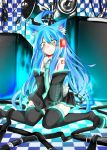 1girl animal_ears blush boots checkered checkered_floor cosplay coup_(shun_soku) detached_sleeves hatsune_miku hatsune_miku_(cosplay) long_hair looking_at_viewer original shun_soku sitting skirt solo thigh-highs thigh_boots very_long_hair vocaloid wariza