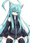 1girl animal_ears blue_hair cat_ears coup_(shun_soku) green_eyes long_hair looking_at_viewer original shun_soku simple_background solo white_background