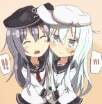 2girls ^_^ akatsuki_(kantai_collection) blue_hair blush_stickers closed_eyes hammer_and_sickle hat hibiki_(kantai_collection) kantai_collection kariosuto21 multiple_girls neckerchief open_mouth personification school_uniform serafuku silver_hair skirt verniy_(kantai_collection)