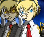 1girl aegis android blonde_hair blue_eyes dark_persona face hand_on_own_face kamui_sathi necktie persona persona_3 persona_4:_the_ultimate_in_mayonaka_arena short_hair solo yellow_eyes