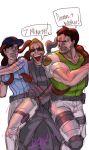 1girl 2boys albert_wesker chris_redfield diepod jill_valentine multiple_boys resident_evil sunglasses tentacles