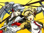 2girls aegis android blonde_hair grin headgear kamui_sathi labrys multiple_girls open_mouth persona persona_4 persona_4:_the_ultimate_in_mayonaka_arena ponytail school_uniform serafuku silver_hair smile yellow_eyes