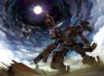 airplane armored_core armored_core:_verdict_day battle clouds cloudy_sky gun highres jet mecha murakumo_(weapon) n-wgix/v no_humans pollution rifle scenery sky smoke spirit_of_mother_will spoilers star_(sky) starry_sky sun vanguard_overed_boost weapon white_glint