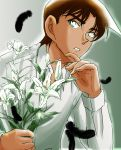brown_hair dark_skin feathers flower green_eyes hattori_heiji highres lily_(flower) male meitantei_conan open_mouth short_hair solo
