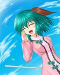 1girl animal_ears bamboo_broom blue_sky blush broom closed_eyes clouds cloudy_sky green_hair izumo-ss-yoshitunedenn kasodani_kyouko open_mouth short_hair sky solo touhou