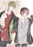 2boys brown_hair cat cross dutch_angle free! green_eyes hat highres holding_hands jewelry kaoru matsuoka_rin multiple_boys necklace plaid plaid_shirt red_eyes redhead smile tachibana_makoto white_cat yaoi