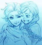 2girls ;d anna_(frozen) braid elsa_(frozen) freckles frozen_(disney) hug monochrome multiple_girls open_mouth siblings sisters sketch smile toboso_yana uneven_eyes wink