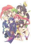 6+girls armor black_hair blue_eyes blue_hair braid brown_eyes brown_hair cape cynthia_(fire_emblem) degel feathers fire_emblem fire_emblem:_kakusei green_hair grin hooded_jacket lucina mark_(fire_emblem) multiple_girls nn_(fire_emblem) noire_(fire_emblem) pointy_ears red_eyes redhead satori selena_(fire_emblem) smile twin_braids twintails violet_eyes wink