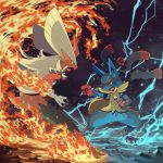 blaziken electricity fire highres lucario mega_pokemon nekonekoyukai no_humans pokemon pokemon_(creature) pokemon_(game) pokemon_xy