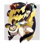 1girl black_hair blue_eyes blush emolga gym_leader headphones kamitsure_(pokemon) lowres midriff pokemon pokemon_(creature) pokemon_(game) pokemon_bw pokemon_bw2 shigetake_(buroira) short_hair smile solo