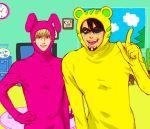 2boys animal_costume barnaby_brooks_jr blonde_hair brown_hair bunny_costume kaburagi_t_kotetsu mask multiple_boys negu_(geneg) tiger_&_bunny tiger_costume tiger_print wild_tiger