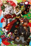 1girl 696 2013 2boys ;p balrog blonde_hair blush braid brown_hair crossed_arms don_(street_fighter) final_fight floral_print fur_collar gai_(final_fight) hakama happy_new_year high_ponytail ibuki japanese_clothes kimono long_hair multiple_boys obi red_scarf sash scarf single_braid split_ponytail street_fighter tanuki tongue vertical_stripes wink