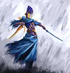 1girl armor blonde_hair breastplate dark_souls dual_wielding full_armor helmet highres knight lord's_blade_ciaran marduk mask reverse_grip skirt standing sword weapon yellow_eyes