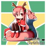 1girl :3 bell blush chibi hat highres long_hair looking_at_viewer masu_shu original pink_eyes pink_hair santa_hat smile very_long_hair