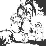 1girl ankle_wraps antenna_hair badokami bandages bandana barefoot chin_rest don_(street_fighter) ibuki in_tree kote long_hair monochrome ninja ponytail squatting street_fighter tanuki tree