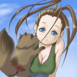 1girl antenna_hair black_hair blue_eyes blush breasts casual cleavage don_(street_fighter) down_blouse hikawa2 ibuki large_breasts lips long_hair ninja ponytail smile street_fighter tank_top tanuki