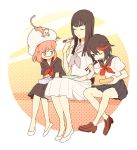 3girls black_hair eating flats hat jakuzure_nonon kill_la_kill kiryuuin_satsuki loafers long_hair matoi_ryuuko monkey multicolored_hair multiple_girls obentou pink_hair school_uniform serafuku shoes short_hair skirt streaked_hair zipon