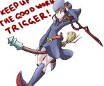 1girl akko_kagari bailing_baker boots broom broom_riding brown_hair company_connection crossover dress hat kill_la_kill knee_boots little_witch_academia long_hair scissor_blade smile solo trigger_(company) witch witch_hat