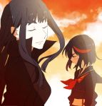 2girls black_hair blush closed_eyes kill_la_kill kiryuuin_satsuki long_hair matoi_ryuuko midriff multicolored_hair multiple_girls school_uniform senketsu serafuku short_hair smile streaked_hair zipon