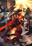 baton black_hair boots breasts gamagoori_ira hat highres inumuta_houka jakuzure_nonon kill_la_kill kiryuuin_satsuki matoi_ryuuko microskirt multicolored_hair onisakiyoruka over_shoulder redhead revealing_clothes sanageyama_uzu scissor_blade senketsu shako_cap shinai short_hair skirt suspenders sword thigh-highs thigh_boots two-tone_hair under_boob weapon weapon_over_shoulder