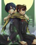 arisato_minato blue_eyes blue_hair brown_hair female_protagonist_(persona_3) moon persona persona_3 persona_3_portable red_eyes scarf school_uniform sitting smile yuuki_makoto