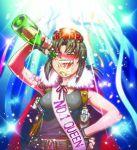 1girl alcohol black_hair black_lagoon blush bottle breasts cape champagne chibi confetti crown drinking drunk fingerless_gloves gloves hand_on_hip hiroe_rei lowres ponytail revy sash solo