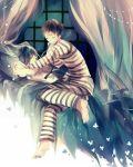 2boys arisato_minato bed black_hair blue_hair butterfly closed_eyes multiple_boys persona persona_3 pharos ribbon short_hair sitting sleeping yuuki_makoto
