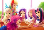 6+girls amy30535 applejack backlighting blonde_hair chopsticks eating fingerless_gloves fluttershy fork friends gloves horn long_hair multicolored_hair multiple_girls my_little_pony my_little_pony_friendship_is_magic no_hat obentou personification pink_hair pinkie_pie purple_hair rainbow_dash rainbow_hair rarity school_uniform twilight_sparkle