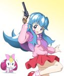 1girl amraam120c ayanokouji_rem ayanokouji_rem_(cosplay) blue_eyes blue_hair capelet cosplay creature dream_hunter_rem gun happinesscharge_precure! long_hair payot precure red_skirt ribbon_(happinesscharge_precure!) shirayuki_hime shoes skirt smile socks sweater trigger_discipline weapon