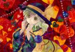 1girl bow hat hat_bow heart komeiji_koishi shiroma_(mamiko) solo third_eye touhou traditional_media watercolor_(medium) wide_sleeves