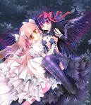 2girls akemi_homura akuma_homura alternate_form amber_eyes argyle argyle_legwear black_dress black_gloves black_hair black_vs_white black_wings bow breasts cleavage detached_collar dress duo elbow_gloves feathered_wings frilled_dress frills gloves goddess_madoka hair_bow hair_ribbon kaname_madoka leaf light_smile looking_at_viewer magical_girl mahou_shoujo_madoka_magica mahou_shoujo_madoka_magica_movie multiple_girls night parted_lips pink_hair pink_legwear purple_legwear red_eyes ribbon skf sky spoilers star_(sky) starry_sky tattoo thigh-highs twintails two_side_up white_dress white_gloves wings yuri zettai_ryouiki