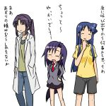 3girls aizawa_chizuru blue_hair goshiki_agiri kill_me_baby labcoat long_hair miyauchi_kazuho multiple_girls myon2355 non_non_biyori purple_hair school_uniform shinryaku!_ikamusume translation_request