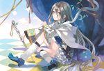 1girl animal belt cloak eihi grey_hair long_hair sitting smile snake white_snake yellow_eyes