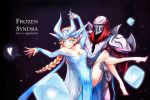 1boy 1girl alternate_costume alternate_hair_color armor barefoot beancurd blonde_hair blue_dress blue_eyes braid carrying character_name cosplay dress elsa_(frozen) elsa_(frozen)_(cosplay) frozen_(disney) highres league_of_legends long_hair long_sleeves parody princess_carry single_braid smile syndra zed_(league_of_legends)