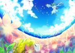 alternate_form flower green_eyes mountain no_humans open_mouth pokemon pokemon_(game) pokemon_dppt shaymin shibuki_kamone