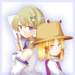 back-to-back blonde_hair blue_eyes border bust detached_sleeves green_hair hair_ornament halftone halftone_background hat kochiya_sanae moriya_suwako short_hair snake toobane touhou yellow_eyes