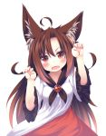 1girl animal_ears brown_hair claw_pose daidai_ookami dress fang frilled_sleeves frills imaizumi_kagerou long_hair open_mouth red_eyes touhou wolf_ears