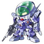 blue_comet_spt_layzner chibi gun katahira_masashi layzner mecha simple_background solo weapon