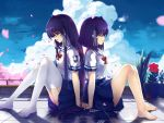 2girls absurdres back-to-back baisi_shaonian clannad closed_eyes fujibayashi_kyou fujibayashi_ryou hair_ribbon highres multiple_girls purple_hair ribbon school_uniform short_hair siblings sisters thigh-highs twins violet_eyes