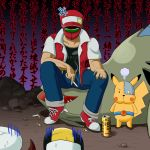 2boys angry baseball_cap cigarette crossover dogudenki gold_(pokemon) hat kotone_(pokemon) mask multiple_boys parody pikachu pokemon pokemon_(creature) pokemon_(game) pokemon_gsc pokemon_rgby red_(pokemon) red_(pokemon)_(classic) sneakers sunred tentai_senshi_sunred tyranitar usakotsu wall_of_text