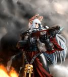 adepta_sororitas aquila armor bad_id bird bow chain crossover eien_no_sai_tori fire flamer flamethrower fleur_de_lis fujiwara_no_mokou hair_bow inquisition long_hair ornate pauldrons phoenix power_armor purity_seal red_eyes silver_hair sisters_of_battle skull solo touhou warhammer_40k weapon