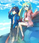 blue_hair dress goggles goggles_on_head hoodie kuroemon multicolored_hair nia_teppelin pink_dress sarashi short_hair simon sitting sky smile tengen_toppa_gurren_lagann two-tone_hair young