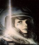 damaged epic helmet juan_gimenez lips oldschool pilot realistic science_fiction solo space space_suit spacesuit star tattoo the_fourth_power