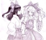 blush bow cosplay costume_switch detached_sleeves frown graphite_(medium) hair_bow hair_tubes hakama hakurei_reimu hakurei_reimu_(cosplay) hakurei_reimu_(pc-98) hana-kagume japanese_clothes kirisame_marisa long_hair long_skirt miko monochrome multiple_girls purple shy sketch skirt skirt_set touhou touhou_(pc-98) traditional_media