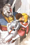 couple gundam highres kiss kitazume_hiroyuki mecha mobile_suit_gundam pantyhose pilot_suit rx-78-2 sayla_mass white_legwear