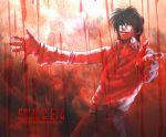1boy alucard_(hellsing) belt black_hair blood hellsing pants rain red shirt solid&etc solo white_gloves