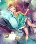bare_legs bow dress gym_leader highres legs magnemite mikan_(pokemon) minami_(apricot_tea) nintendo open_mouth pokemon pokemon_(game) pokemon_gsc smile steelix wink
